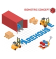 concept - loaders build the word warehouse vector image