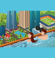 couple on a rooftop swimming pool vector image vector image