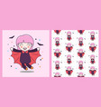 cute dracula girl fly with bat and pattern vector image vector image