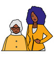 cute grandmother with daughter black characters vector image vector image