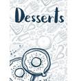 desserts vintage hand drawn poster vector image vector image