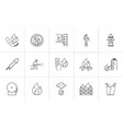 fire hand drawn sketch icon set vector image vector image