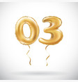 golden number 03 zero three metallic balloon vector image vector image