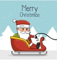 greeting merry christmas with santa and sleigh vector image vector image