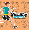 healthy lifestyle card man runner sport vector image vector image