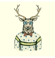 Hipster deer like a man dressed in the blouse vector image vector image
