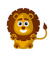 isolated cute happy lion on white background vector image vector image