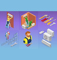 isometric interior repairs concept system of air vector image vector image