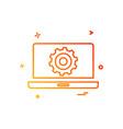 laptop setting gear icon design vector image