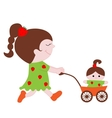 lovely little girl with a doll in the stroller vector image vector image