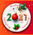 merry christmas and happy new year 2021 christmas vector image vector image