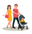 mom and dad are walking with their kid vector image