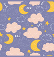 moon stars and clouds seamless pattern vector image