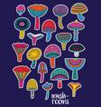 mushrooms stickers set in hallucinogenic colors vector image