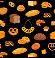 pattern with fresh pastries vector image vector image