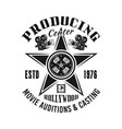 producing and casting center emblem vector image vector image
