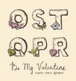 retro valentine alphabet - o s t q p r vector image vector image