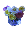 roses in a vase and blue lights vector image