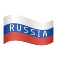 Russian flag with word Russia waving on white vector image vector image