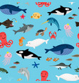 sea animals pattern vector image vector image