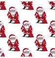 Seamless pattern with cartoon Santa Claus vector image