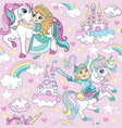 seamless pattern with cute kids vector image