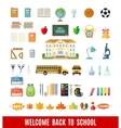 Set of flat school icons vector image vector image