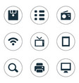 set simple device icons vector image