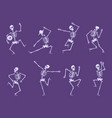skeleton dancing party funny characters dancers vector image
