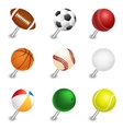 sports ball pointers push pin set vector image vector image