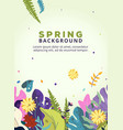 spring background with leaves flowers for poster vector image vector image