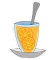 tea with lemon on white background vector image vector image