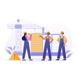 team male and female builders is working vector image