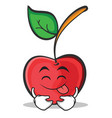 tongue out cherry character cartoon style vector image vector image