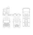 truck tractor or semi-trailer truck in outline vector image vector image