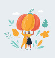 two woman with giant pumpkin on vector image vector image