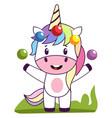 unicorn juggling on white background vector image vector image