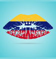 venezuela flag lipstick on the lips isolated on a vector image