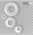 white 3d gears on the transparent gray background vector image vector image