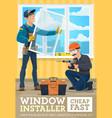 window installer service advertising banner vector image vector image