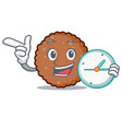 with clock chocolate biscuit character cartoon vector image vector image