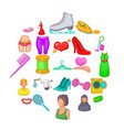 women clothes icons set cartoon style vector image vector image