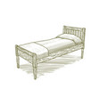 woodcut vintage bed vector image vector image