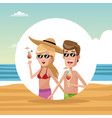 young couple at beach vector image vector image