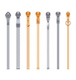 zipper collection realistic set vector image