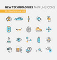 modern technologies linear thin line icons set vector image