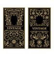 vintage frames in golden style on dark background vector image