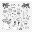 set of hand-drawn sketchy christmas elements vector image