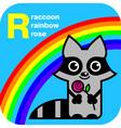ABC raccoon rainbow rose vector image