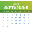 2019 calendar template - september vector image vector image